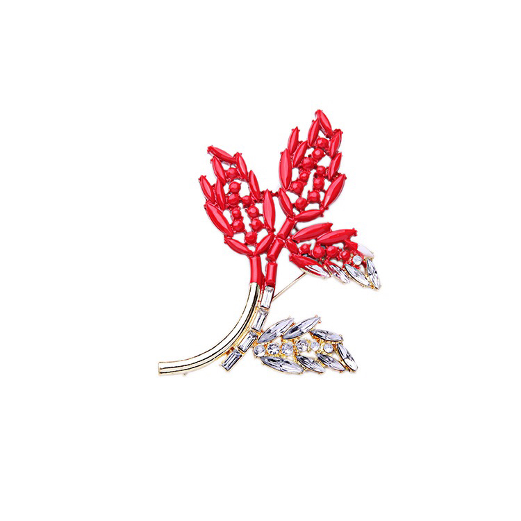 Red Leaf design Brooch