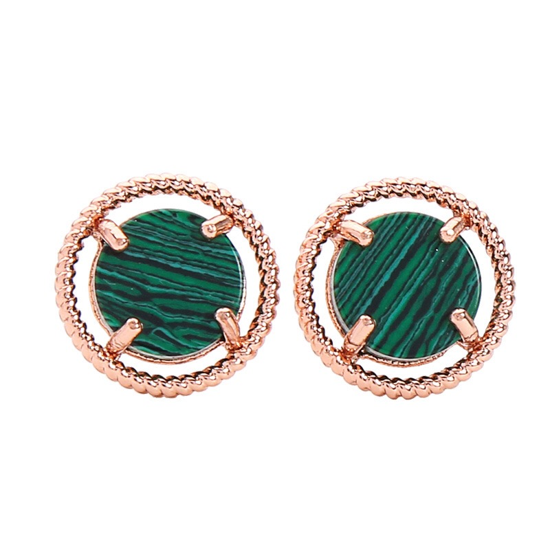 malachite stone ear stud