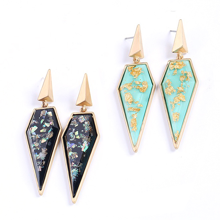 Color shell stone earring