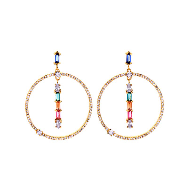 Round shape design shining earring