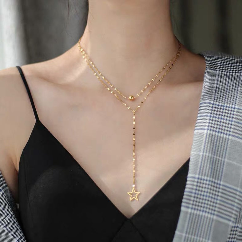 Double chain fashion necklace