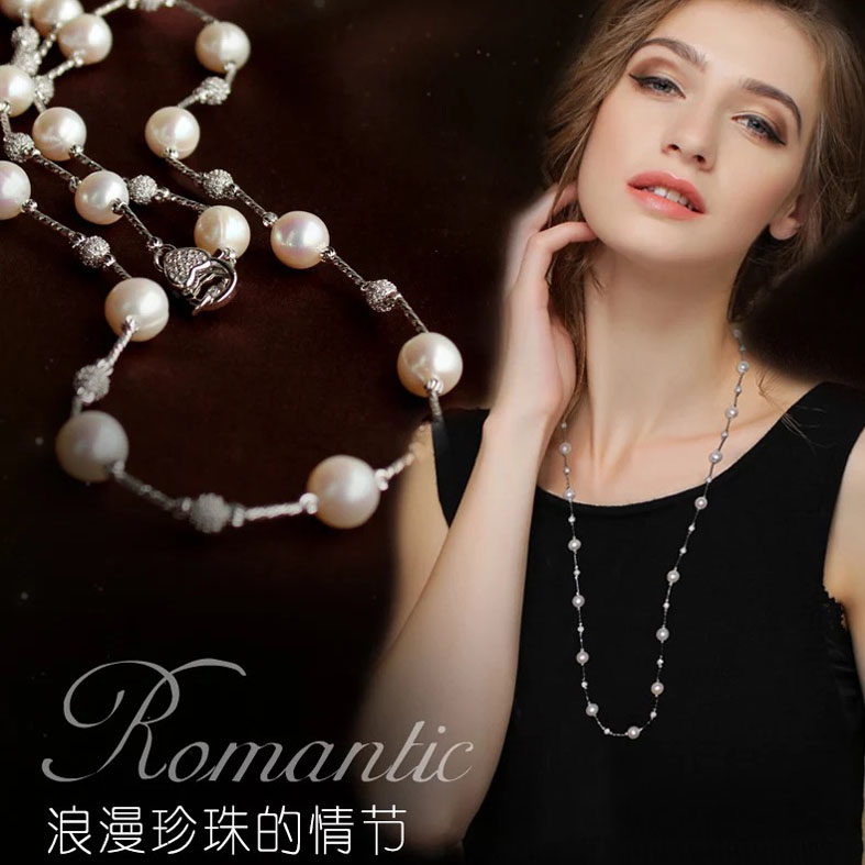 Adjustable fashion pearl beads necklace