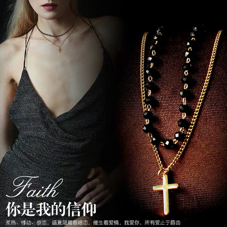 Popular double chain cross necklace
