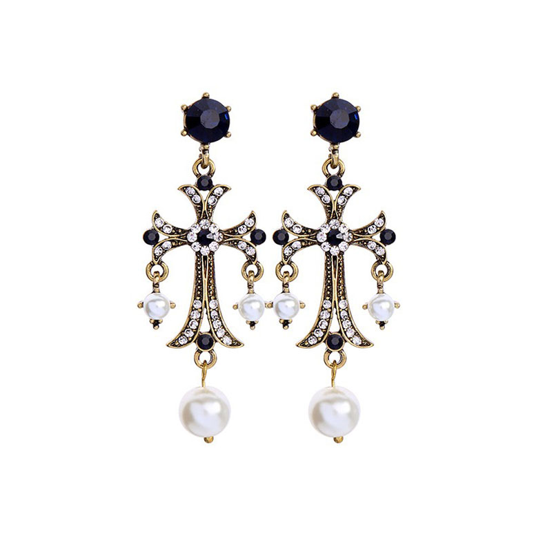 Antique cross fashion earring