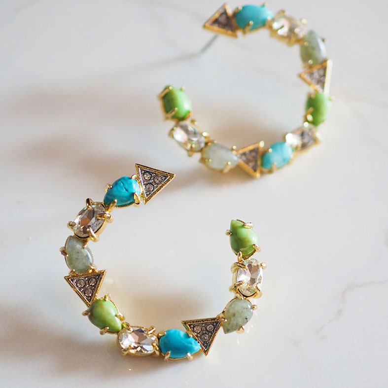 Fashion color stone circle earring