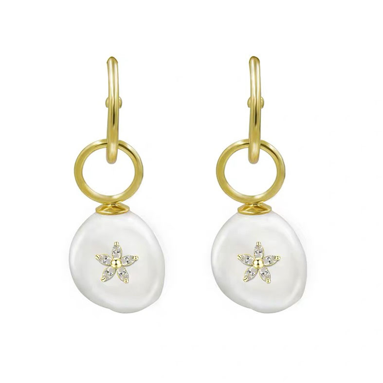 Quality irregularly shaped pearl earring