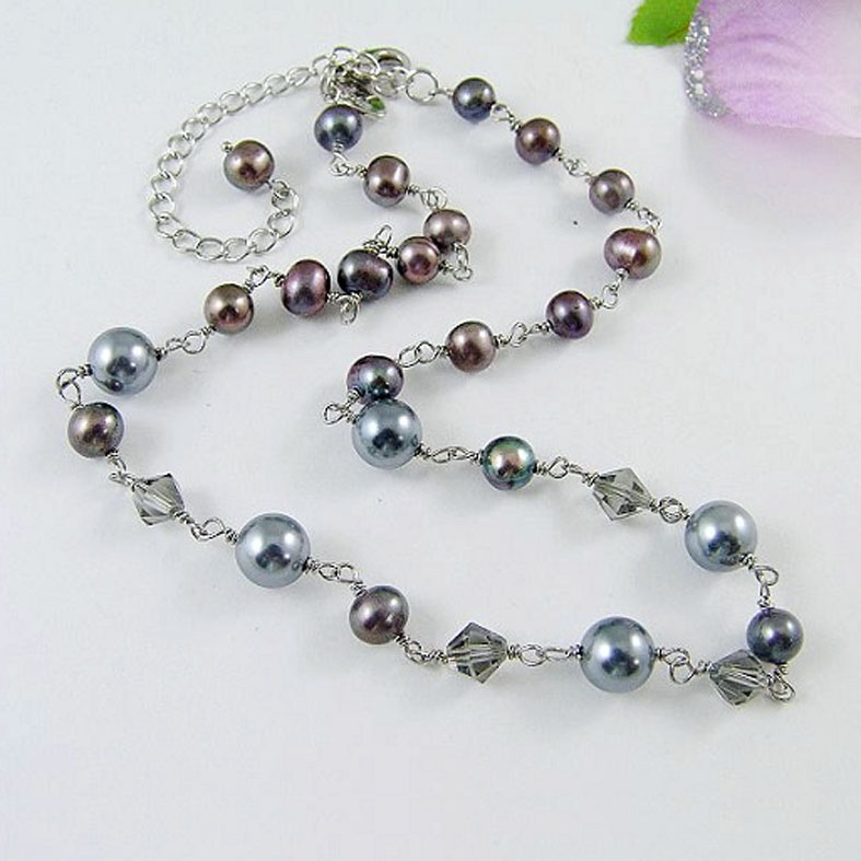 Fashion long chain pearl beads necklace